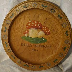 Vintage Hand Painted Wooden Round Platter